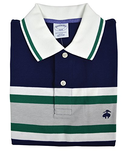 Brooks Brothers Men's Slim Fit Performance Colorblocked Striped Polo Shirt Navy Blue (Brooks Striped Shirt)