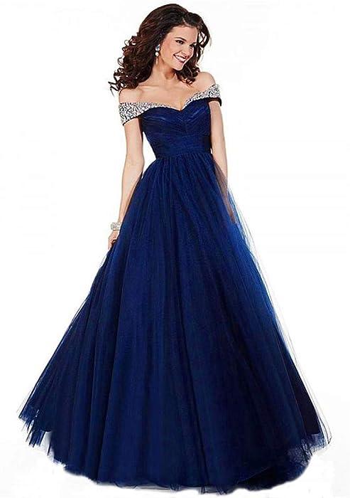 03e740847685 Qiuqier Vestito da Donna Senza Elegante Spalline Abito da Sera da Cerimonia  Lungo Blu Navy 40