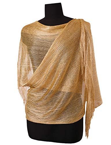 Gold Metallic Thread Scarf - Womens Wedding Evening Wrap Shawl Glitter Metallic Prom Party Scarf with Fringe, 3 Metallic Gold