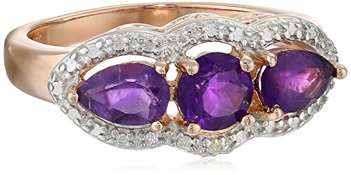 2 Tone Amethyst Ring (Rose Gold-Plated Sterling Silver Two-Tone African Amethyst Three-Stone Ring, Size)