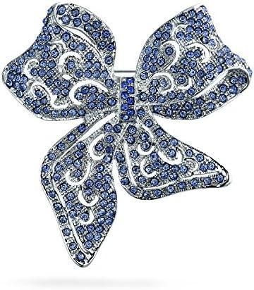ロンドンブルー クリスタル 銀メッキ ビンテージ風 透かし彫り リボン 大振り ステイトメント ブローチ