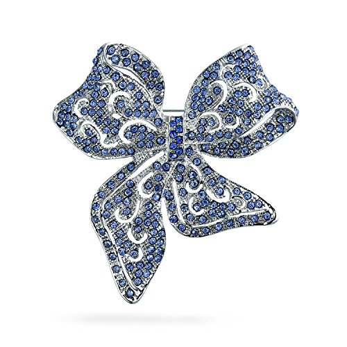 (Large Vintage Style London Blue Statement Ribbon Open Filigree Crystal Wedding Bow Brooch Pin for Women Silver Plated)