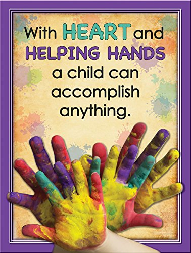 Helping Hands Laminated Educational Poster for Elementary Students and Teachers