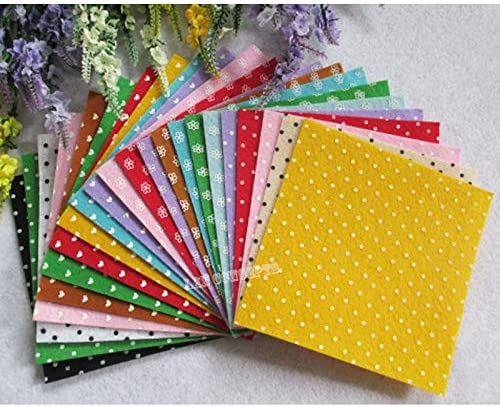 Amazon.com: Xuccus 15X15cm DIY Polyester Felt Sheets Nonwoven Sheet with Printed Polka Dot Flower Heart - 27pcs/lot Mixed Color - (Size: 15cm15cm)