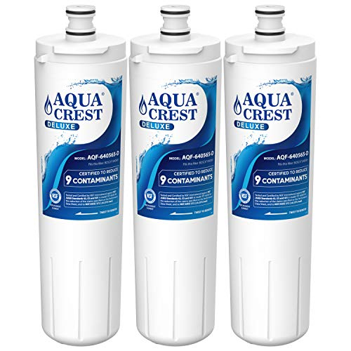 AQUACREST Replacement 640565 Refrigerator Water Filter, NSF 401, 53&42 Certified, Compatible with Bosch 640565 EVOLFLTR10 AP3961137, Whirlpool WHKF-R-PLUS (Pack of 3)