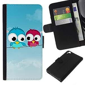 All Phone Most Case / Oferta Especial Cáscara Funda de cuero Monedero Cubierta de proteccion Caso / Wallet Case for HTC Desire 820 // Cute Love Birds