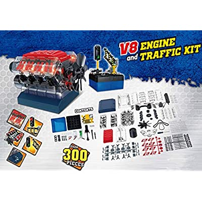 Build Your Own Toys for Boys, Adults & Girls, STEM Toy with Sound Lights V8 Motor Model Engine + Traffic Lights Construction Set w/ 300+ pcs. Hobby Kit Combustion Engine w/DYI Guide.: Toys & Games