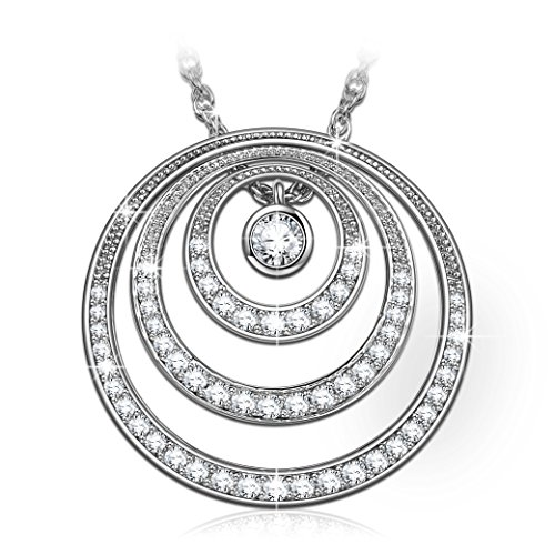 Infinity Love Necklace Birthday Gifts For Women Infinity Love Necklace Flipped Hypoallergenic S925 Sterling Silver 4A Cubic Zirconia White Gold Plating Circle Necklace with Luxury Jewelry ()