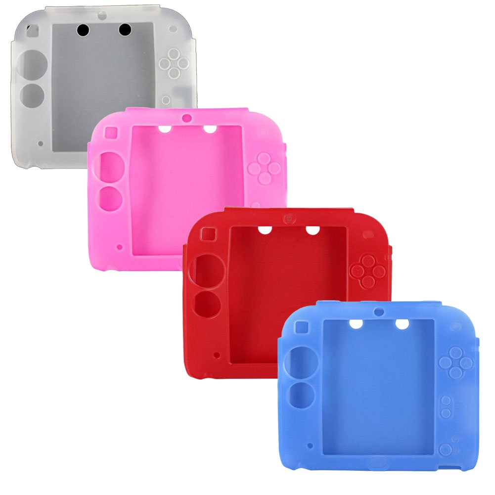 4Packs Protective Soft Silicone Rubber Gel Skin Case Cover for Nintendo 2DS (PI+RE+BU+WH)