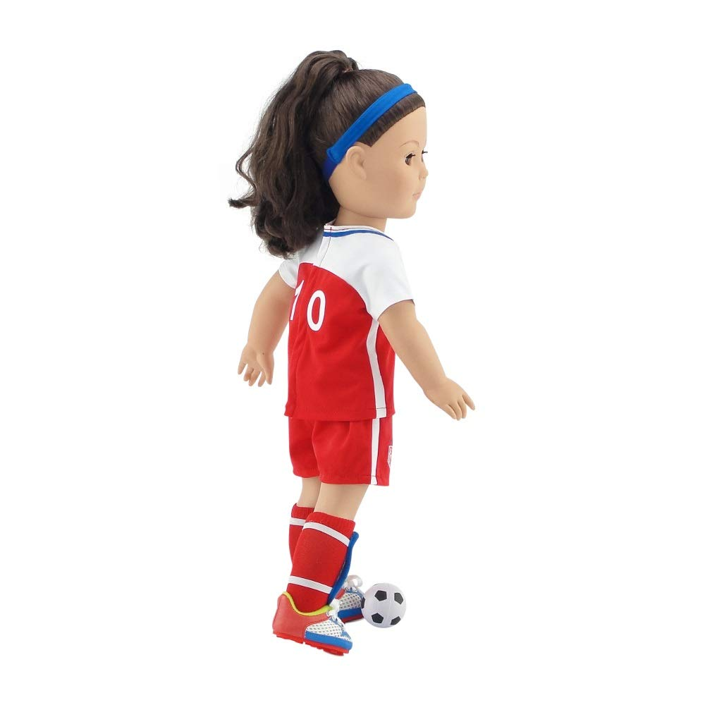 Shorts Team USA 8 Piece Value Pack Doll Soccer Uniform Socks Fits American Girl Emily Rose Doll Clothes 18 Inch Doll Clothes Soccer Shoes//Cleats and Realistic Gold Medal! Including Shirt Ball Shin Guards Headband