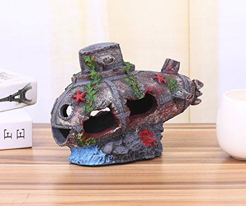 Charmly Sunken Submarine Sunk Ship Shipwreck Resin Wreck Wreckage Cave Aquarium Ornament Fish Tank Decoration Fish and Shrimp To Avoid The House 9.5