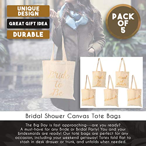 Bridal Shower Canvas Tote Bag - 5-Pack Reusable Shopping Bags for Wedding Favors, Bachelorette Party Gifts, and Bridal Shower Accessories 13.5 x 12 Inches by Blue Panda (Image #3)