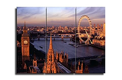 Niwo Art (TM) - 18 London Cityscape Picture On Canvas - Giclee Wall Art for Home Decor, Gallery Wrapped, Stretched and Framed Ready to Hang (30