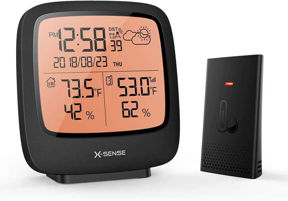 X-Sense Weather Station Wireless with 500 ft Wireless Range, Large Backlit LCD Display, Atomic Clock, Accurate Temperature and Humidity Monitor, Weather Forecast Station, Black