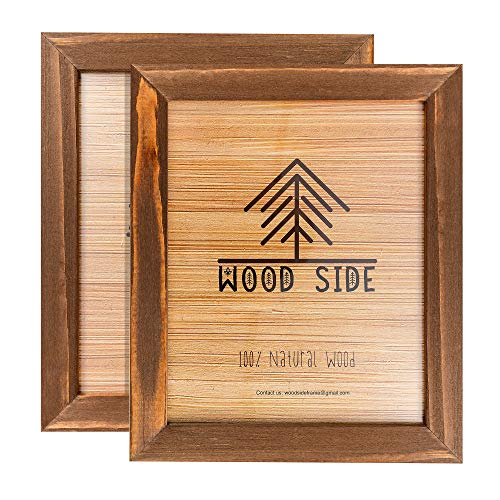 Rustic Wooden Picture Frame 8x10 - Honey Brown - Set of 2-100% Natural Eco Solid Wood and High Definition Real Glass for Wall Mounting Photo Frames ()