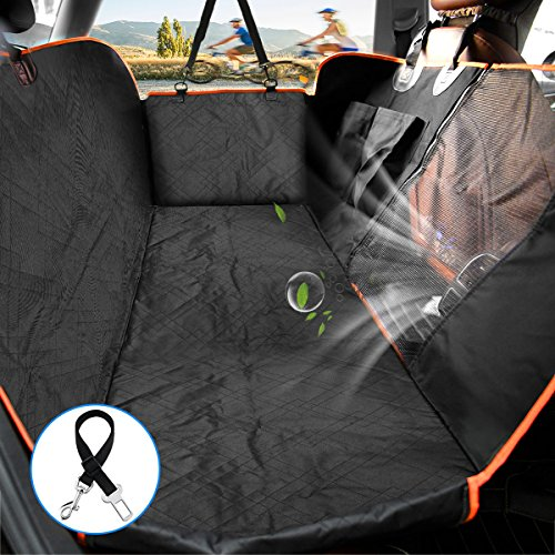 Half Vent (Lantoo Dog Seat Cover, Car Back Seat Cover for Dogs Pets w/Mess Vent Window & Front Zipper, Waterproof Pet Seat Cover Hammock w/Side Flap For Car Truck SUV)