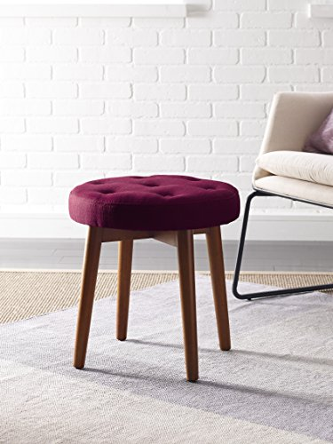 Elle Decor Penelope Round Tufted Stool - Sangria by Elle Decor