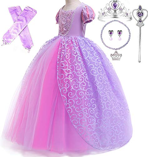 Romy's Collection Princess Rapunzel Special Edition Purple Party Deluxe Costume Dress-Up Set (Purple, 6-7) ()