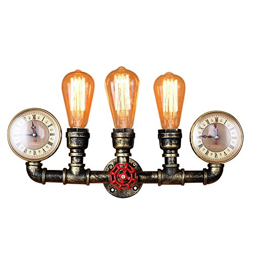 Standard Sconce Wood (Lingkai Craftman Water Pipe Wall Sconce 3-Light Industrial Vintage Wall Light Steampunk Wall Lamp in Antique Bronze Finish)