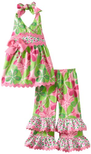 Mud Pie Baby-Girls Newborn Little Sprout Floral Halter Pant Set, Multi-Colored, 2T-3T
