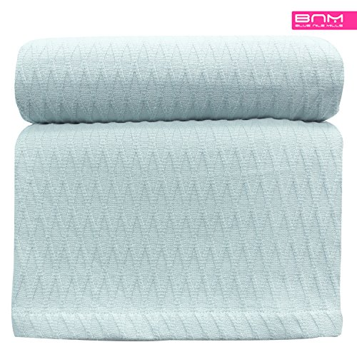 Diamond Twin/Twin XL Cotton Throw Blanket, Breathable Thermal Bed/Sofa Blanket Couch, Snuggle in These Super Soft Cozy Cotton Blankets - Perfect for Layering Any Bed, Aqua