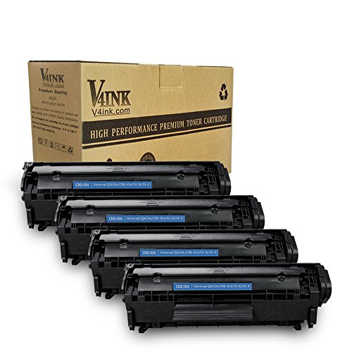 (V4INK 4-Pack Compatible Toner Cartridge Replacement for Canon 104 CRG-104 FX-9 FX-10 Toner Cartridge Using with Canon Imageclass D420 D450 D480 MF4150 MF4350D MF4270 MF4370DN MF4380DN Printer)