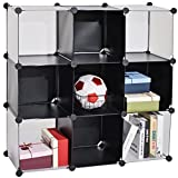 C&AHOME - 9 Cube Storage Organizer DIY Bookcase Shelf Toy Rack, Black Cross