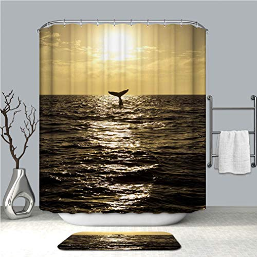 (BEISISS Shower Curtain Set, Bathroom Fabric Curtains Waterproof and Bath matHumpback Whale Lifting its Tail Out of The Ocean at Sunset Standard Size(60x72+16x24) in)