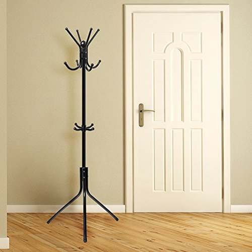 OxGord Free-Standing Coat Rack Entry-Way - Metal Base Tree Stand Holder with Hooks for Hanging Jacket Hat Umbrella