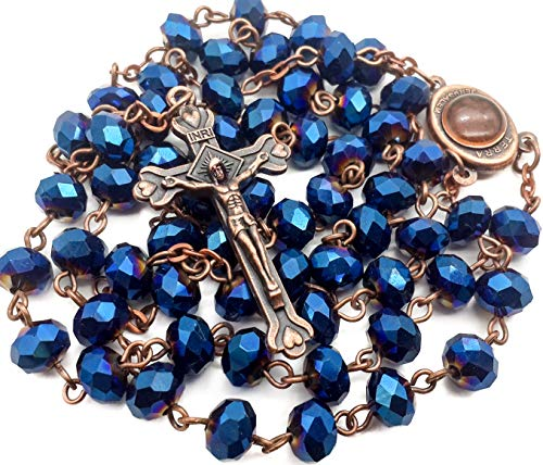 Nazareth Store Deep Blue Crystal Beads Rosary Catholic Necklace Holy Soil Medal Cross Crucifix Antique Design Chaplet in Velvet Bag