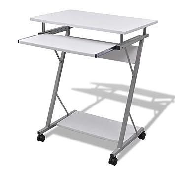 mewmewcat Mesa de Ordenador de Elegante y Moderno con Ruedas Mesa PC Escritorio Mesa Auxiliar 60 x 40 x 75 cm Blanco