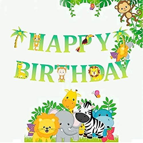 Amazon.com: Pancarta de cumpleaños con diseño de animales de ...