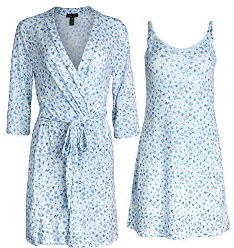 Rene Rofe Womens Lightweight Soft-Stretch Hacci Knit Robe and Chemise Nightgown Set, Lavander Floral, Size Small'