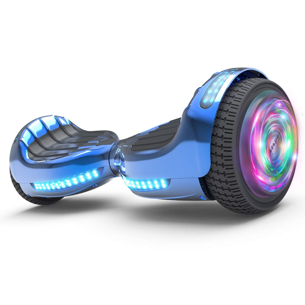 Hoverboard UL 2272 Certified Flash Wheel 6.5'' Wireless Speaker with LED Light Self Balancing Wheel Electric Scooter (Chrome Blue)