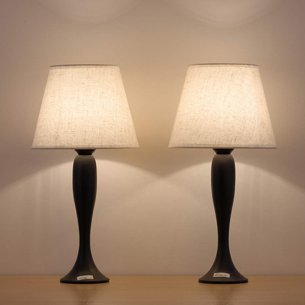 HAITRAL Tischlampe Kinderzimmer mit Mini Metall-Basis und Grauem Stoffschirm Nachttischlampe 2er-Set Kleine Tischleuchte f/ür Schlafzimmer B/üro