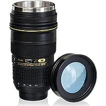 Coffee Mugs,Camera Lens Coffee Mug/Cup With Lid,Photo Coffee Mugs Stainless Steel Travel Lens Mug Thermos 16oz BIMANGO (Model 24-70mm F2.8G Lens With TRANSPARENT LID)