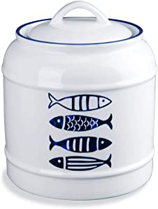 2.5 Liters/0.66 Gallon Ceramic Food Storage Jar for Cookies Sugar Coffee Flour, Kimchi Fermentation Crock with Airtight Lid, Pickle Storage Porcelain Container for Home Kitchen Countertop Decor