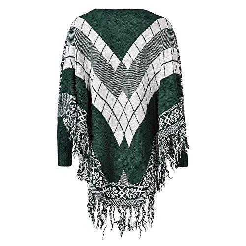 Green Tops FFJ069 LOCOMO Luxury Argyle Femme Poncho wAddUOq