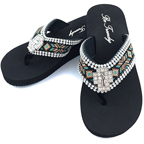 New Western Rhinestone Concho - Western Peak Women's Aztec Design Full Rhinestones Cross Concho Black Brown Turquoise Flip Flop Sandals (XL (11-12))