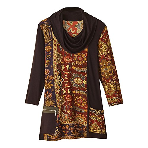 Women's Tunic Top - Auburn & Gold Blends Floral Print Cowl Neck Blouse - 2X
