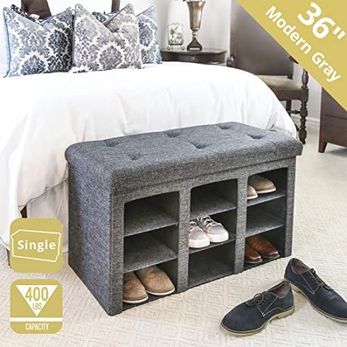 Pleasing Seville Classics Web591 9 Bin Foldable Tufted Shoe Storage Ottoman Bench Trunk End Of Bed Stool Single Charcoal Gray Ncnpc Chair Design For Home Ncnpcorg