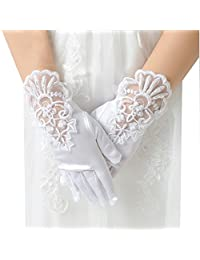 FloYoung Girls Pageant Satin Formal Prom Wedding Gloves with Lace Flower