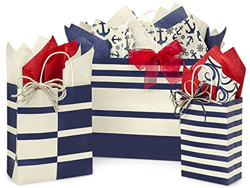 Gift Bags, Assorted Sizes, Bundled with Coordinating Tissue Paper and Raffia Ribbon (Nautical)