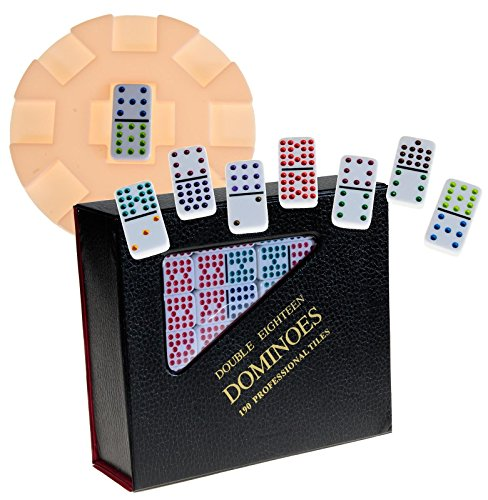 Dominoes Double 18 Set with Color Dots and Centerpiece by Deluxe Games and Puzzles