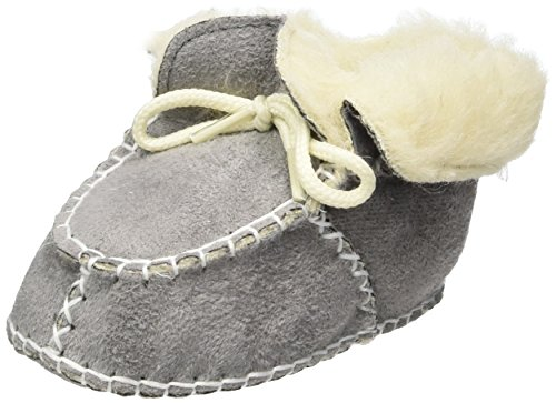 Playshoes Unisex Baby Babyschuhe in Lammfell-Optik Zum Binden Krabbel-& Hausschuhe Grau (grau 33)