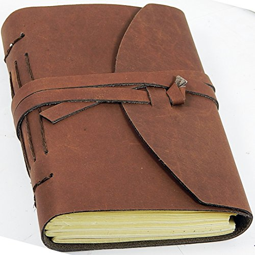 Barner Books Handmade A5 (5 X 7) Journal-sketchbook in Finest Rustic Brown Leather Tri-fold in Burlap Bag