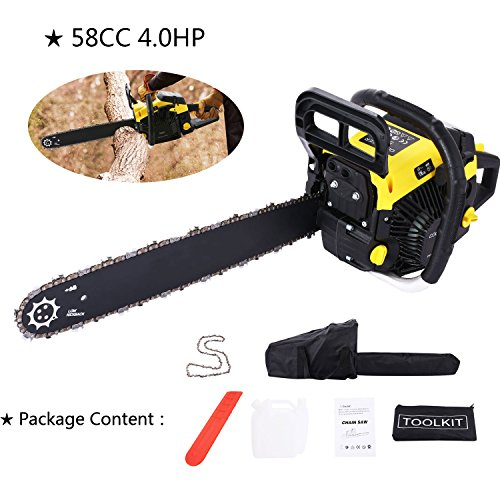 4.0 HP Gas Powered Chain Saw 2 Stroke Handed Petrol Chainsaw with Smart Start Super Air Filter System and Automatic Oiling and Tool Kit(US STOCK) (58CC) by Tomasar