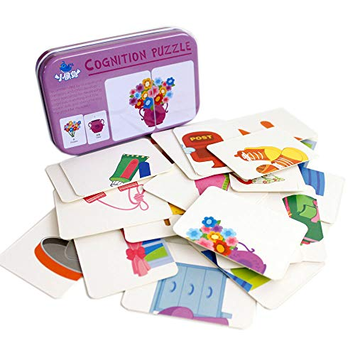 ash Card Jigsaw cognition Puzzle Shape Matching Puzzle Cognitive Learning Early Education Card Learning Toys in a Box - Articles for Daily use ()