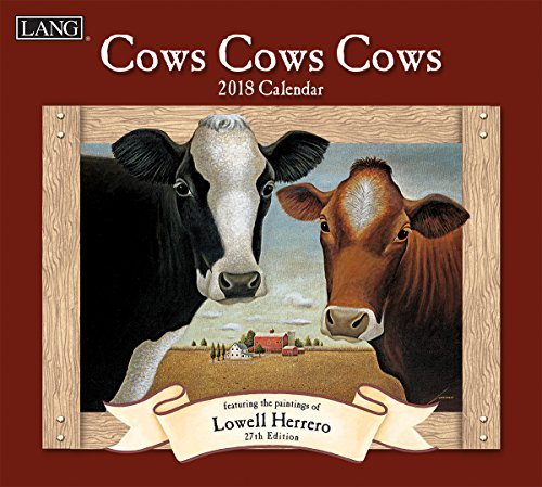 "LANG - 2018 Wall Calendar - ""Cows Cows Cows"", Artwork by Lowell Herrero - 12 Month - Open 13 3/8"" X 24"""
