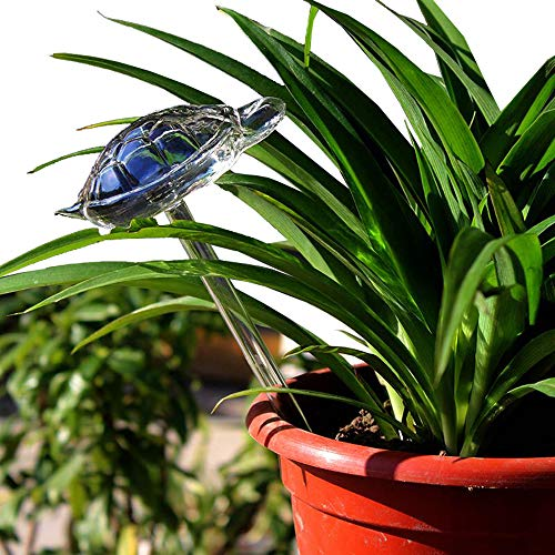 Beautiful Hand Blown Glass Waterers with Self-Watering System Garden Tools Automatic Flower Watering Drippers For Use Indoor Outdoor Small Potted Plants Watering Globes Save Time Watering (Turtle)